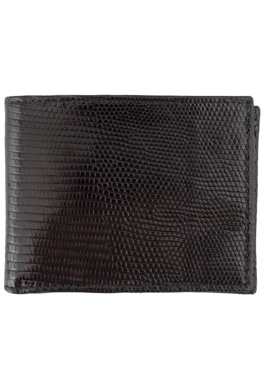 Lizard Slim Fold Wallet - Black - Front
