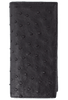Ostrich Checretary Wallet - Black - Front