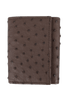 Ostrich Trifold Wallet - Brown - Front