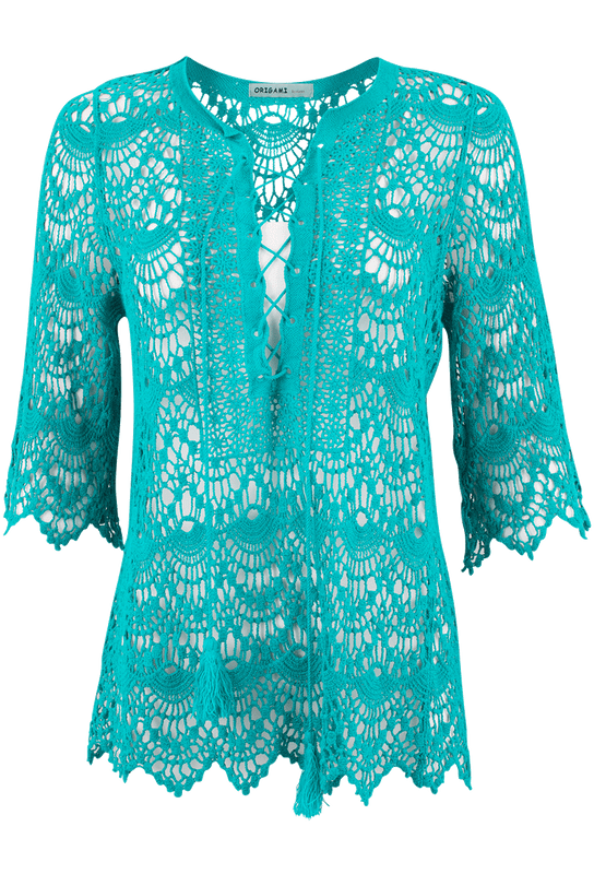 Origami Crochet Tunic - Turquoise - Front