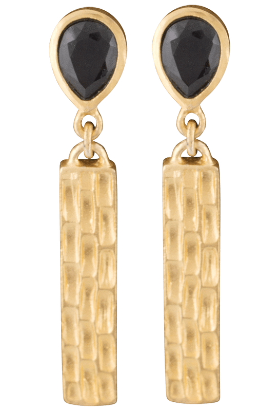 Christina Greene Black Onyx Bar Earrings