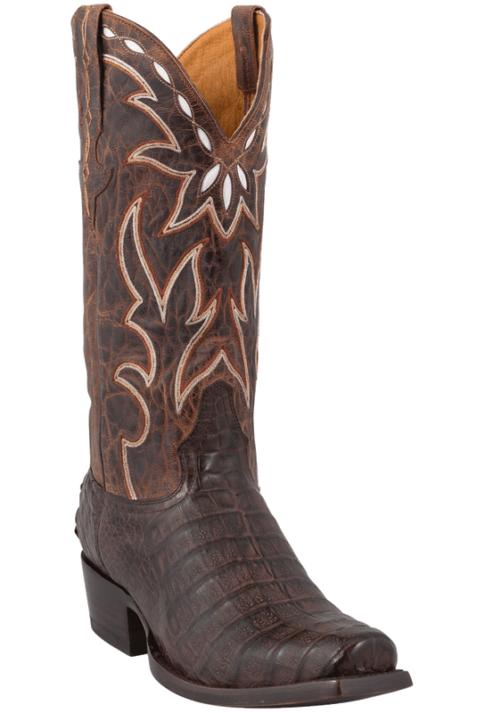 Benchmark by Old Gringo Men's Chocolate Burnished Caiman Belly Boots  - Hero