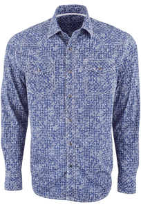 James Campbell Resin Print Snap Shirt - Blue - Front