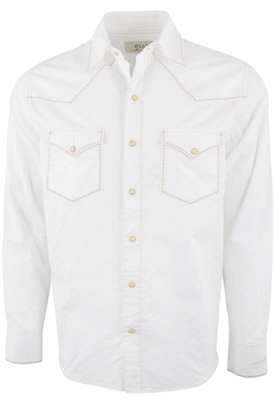 Ryan Michael Clip Jacquard Snap Shirt - White - Front