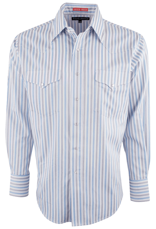 Pinto Ranch Blue and Gray Stripe Western Snap Shirt - Front