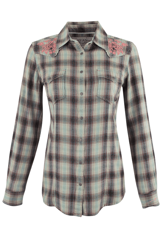 Ryan Michael Ombre Dobby Plaid Shirt - Sage - Front