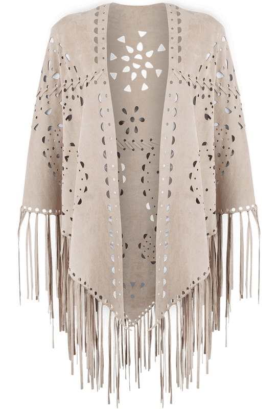 Alberto Makali Laser Cut Faux Suede Fringe Shawl - Taupe - Front