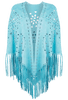 Alberto Makali Laser Cut Faux Suede Fringe Shawl - Turquoise - Front