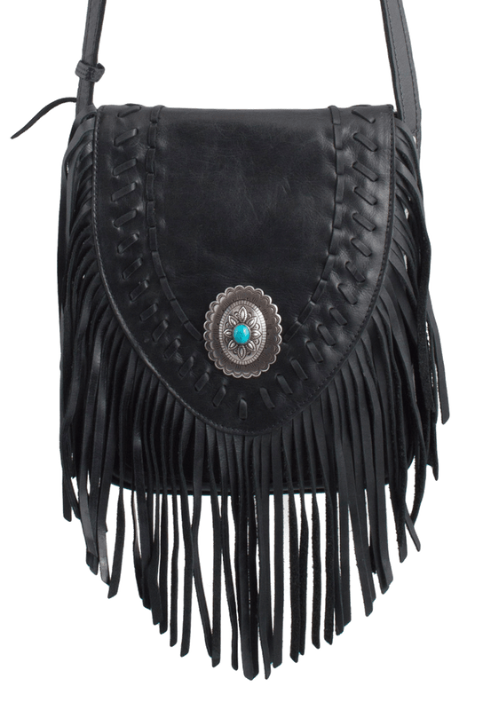 American West Seminole Fringe Crossbody - Black - Front
