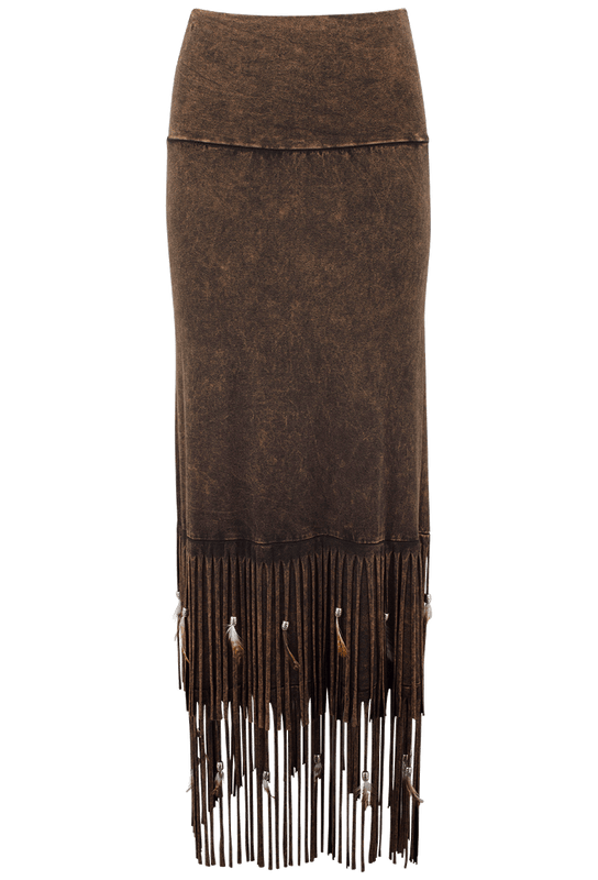 Pat Dahnke Double Fringe Long Skirt - Brown - Front