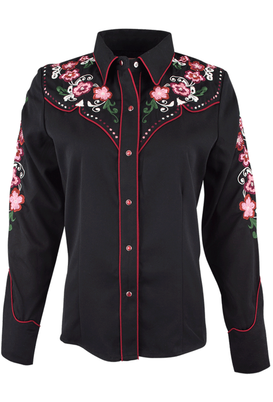 Scully Pink Roses Vintage Western Snap Shirt - Front
