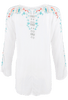 Johnny Was Julie Sunrise Blouse - White - Back