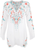 Johnny Was Julie Sunrise Blouse - White - Front