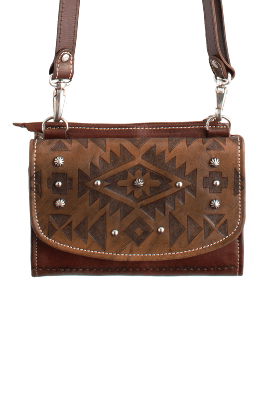American West Mystic Shadow Crossbody Bag - Distressed Charcoal Brown/Chestnut Brown - Front
