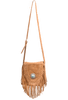 American West Seminole Fringe Crossbody - Cognac - Front with Strap