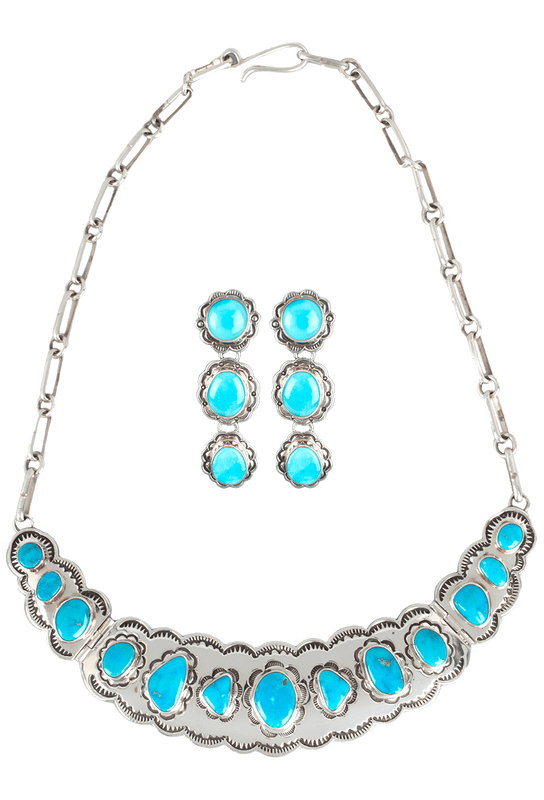 Bilagaanas Blue Bird Turquoise Necklace and Earring Set - Set