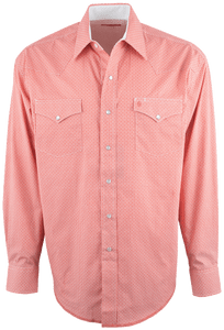 Stetson Orange Peel Geo Print Snap Shirt - Front