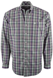 Cinch - Green/Purple Plaid Plain Weave Shirt - Gray - Front