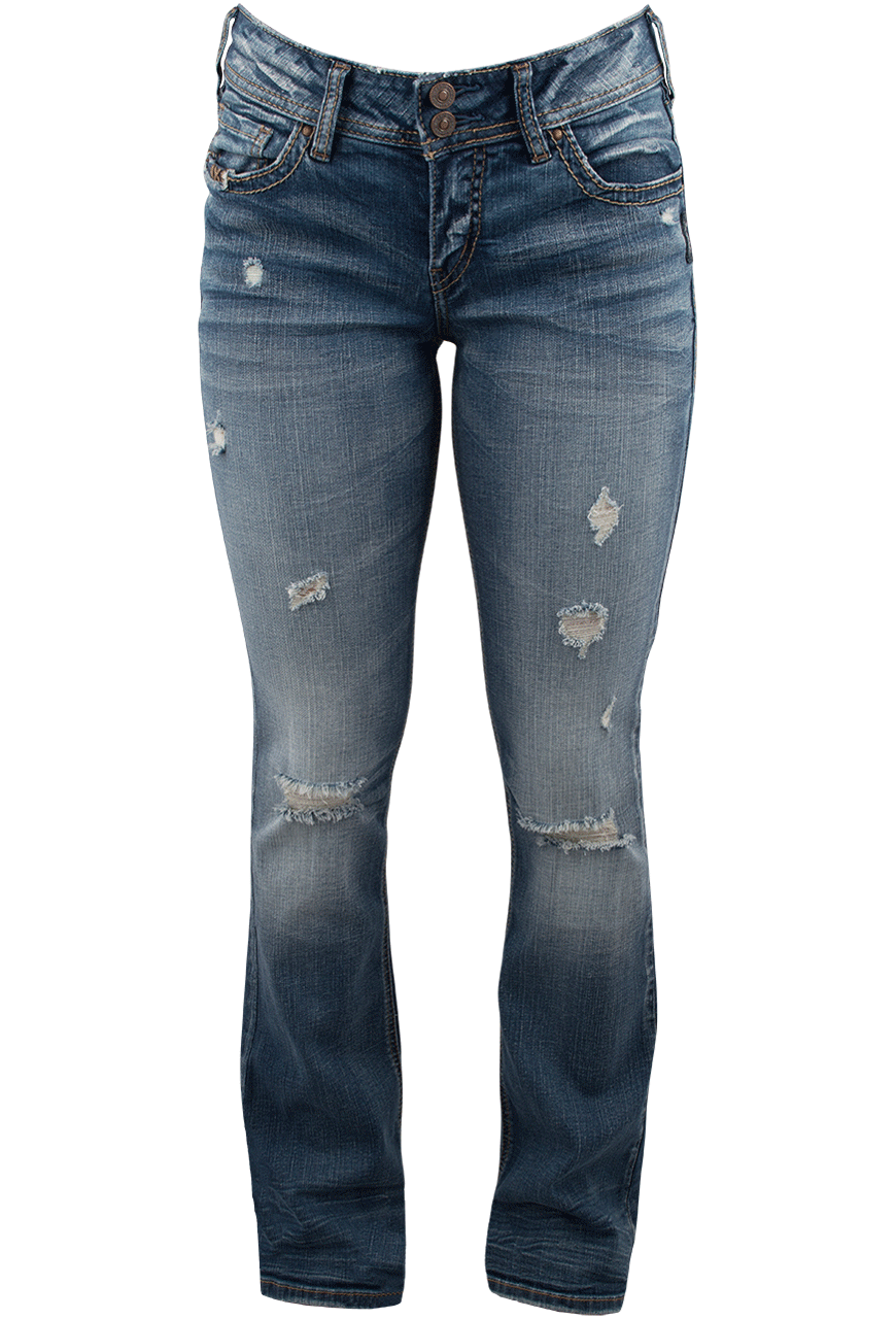 Silver Jeans Suki Mid-Rise Boot Cut Destructed Jeans - Pinto Ranch