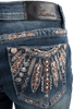 Grace in L.A. Junior Feather Pocket Bootcut Jeans - Back Pocket