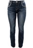 Grace in L.A. Easy Fit Diamond Flap Pocket Bootcut Jeans - Front