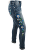 Grace in L.A. Junior Embroidered Flower Straight Leg Jeans - Side Right