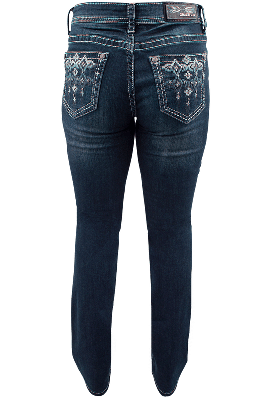 grace in l a  easy fit blue stitch pocket bootcut jeans