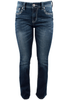 Grace in L.A. Easy Fit Blue Stitch Pocket Bootcut Jeans - Front