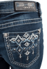 Grace in L.A. Easy Fit Blue Stitch Pocket Bootcut Jeans - Back Pocket
