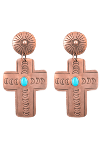 Rocki Gorman Copper Cross Earrings - Front