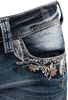 Grace in L.A. Junior Flower Pocket Bootcut Jeans - Front Pocket