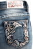 Grace in L.A. Junior Flower Pocket Bootcut Jeans - Back Pocket