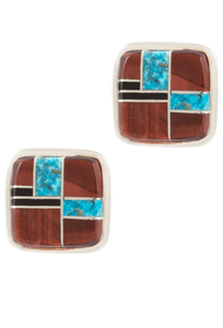 BG Mudd Tiger Eye, Turquoise and Onyx Cufflinks - Front