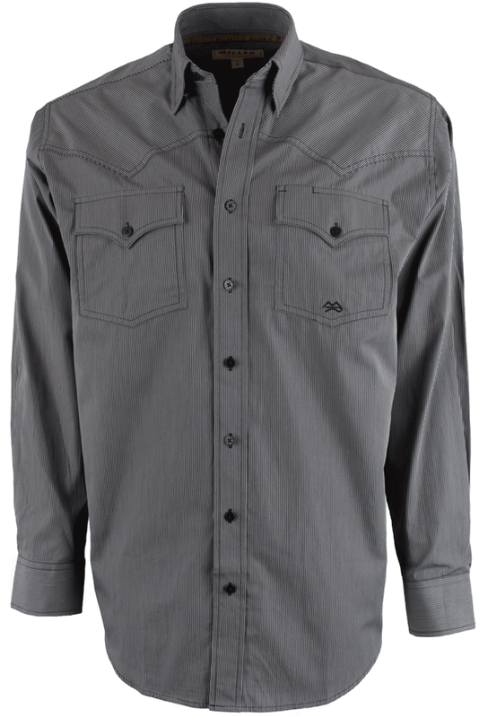 miller ranch black and gray striped buttonup shirt