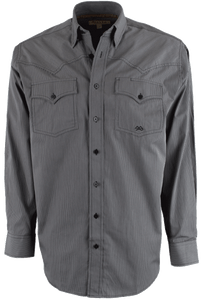 Miller Ranch - Black and Gray Striped Button-Up Shirt - Front