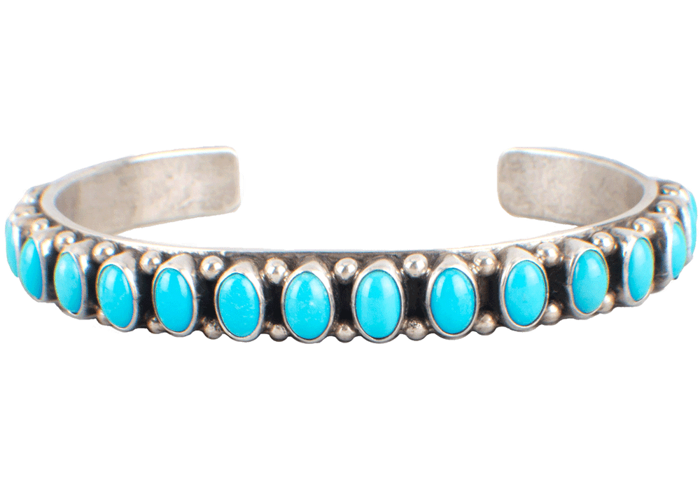 Peyote Bird Blue Turquoise Skinny Cuff Bracelet - Front