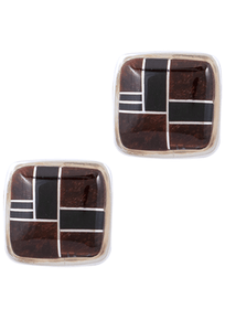 BG Mudd Tiger Eye and Onyx Cufflinks - Front