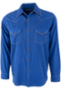 Ryan Michael Textured Stripe Silk Snap Shirt - Cobalt - Front