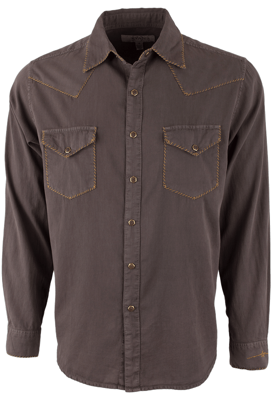 Ryan Michael Textured Stripe Silk Snap Shirt - Chestnut  - Front