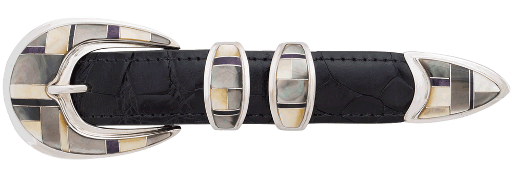 "BG Mudd Abalone and Mother of Pearl 1"" Buckle Set"
