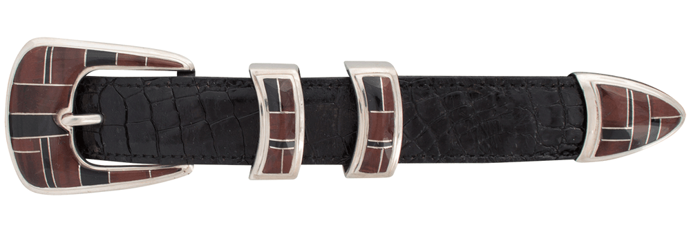 "BG Mudd Red Tiger Eye and Onyx 1"" Buckle Set"