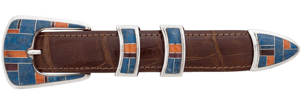 "BG Mudd Denim Lapis Multi Stone 1"" Buckle Set"
