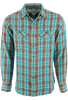 Ryan Michael Ombre Dobby Plaid Snap Shirt - Lake - Front