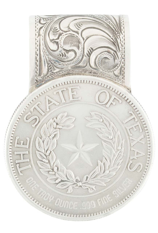 Pinto Ranch Texas State Seal Coin Silver Engraved Money