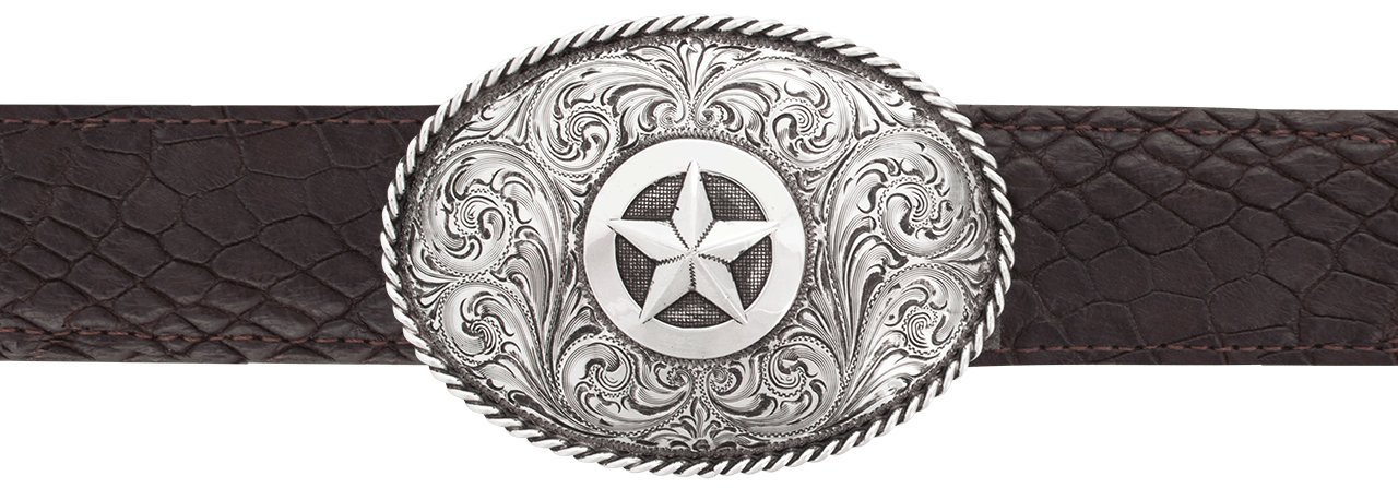 Silver King Oval Star With Rope Edge 1 1 2 Quot Trophy Buckle