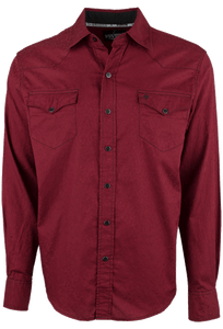 Garth Brooks Sevens by Cinch Burgundy Paisley Jacquard Snap Shirt - Front