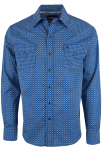 Garth Brooks Sevens by Cinch Blue Square Foulard Print Snap Shirt - Front