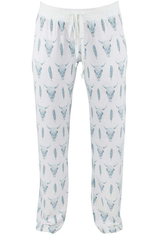 Pajamas - Skull and Feather Night Pants - Front