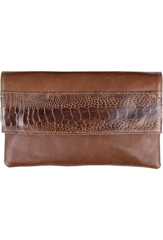 Kulu Kelly Ostrich Leg Clutch - Tan - Front