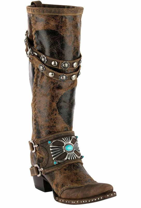 Double D Ranch By Lane Bow Guard Boots Pinto Ranch